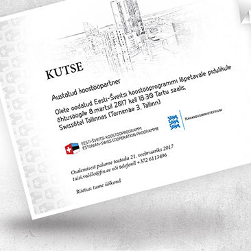Digital invitation to dinner. Design created by Bink Creations / Kaspar Põllu