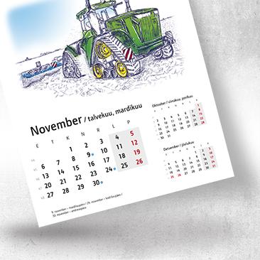Illustratsioonidega Baltic Agro Machinery lauakalender 2017