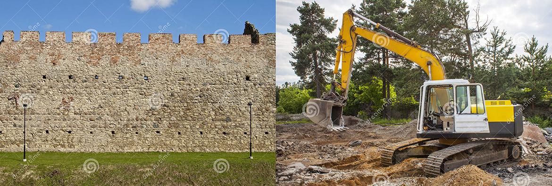 Osteti Dreamstime fotopangast kaks fotot. Kindluse müür ja ekskavaator