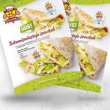 Pizzapro tervislike taskute reklaam. Formaat 195x280. Disain loodud Bink Creations poolt