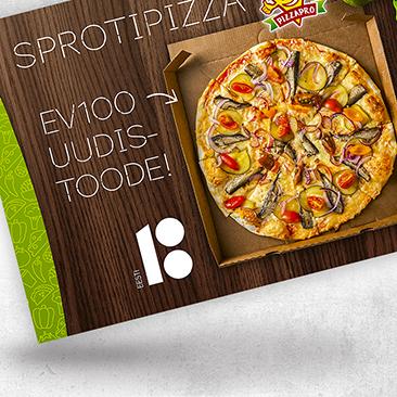 Pizzapro Sprotipizza Lauarääkija ja FB reklaam. EV100 toode
