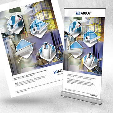 Abloy reklaam ajakirja (210x280mm) ja Roll-Up bänner (850x2000mm) disain