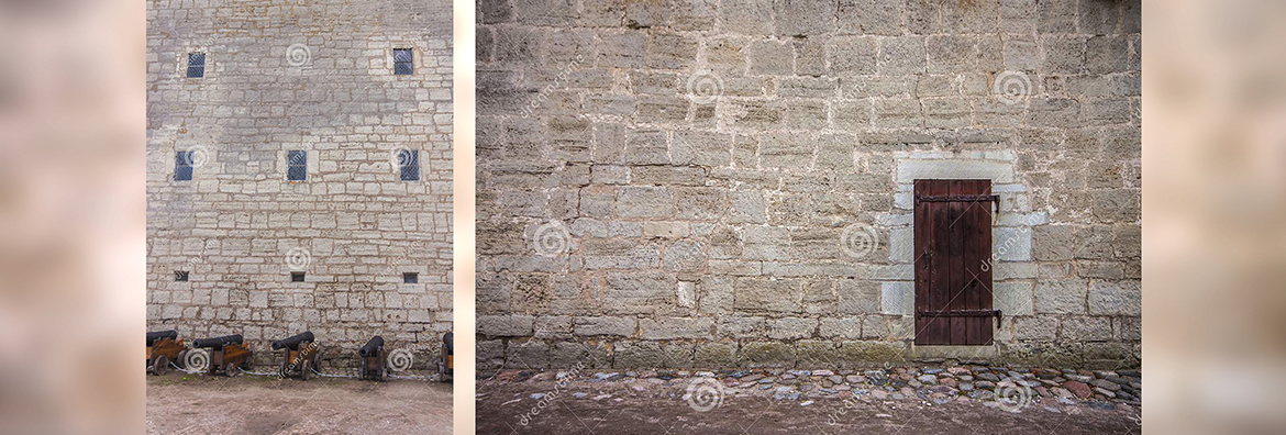 Sold two photostock photos. Castle wall and cannons also Castle wall and wooden door. Photos taken in Kuressaare castle courtyard, located in Saaremaa, Estonia.