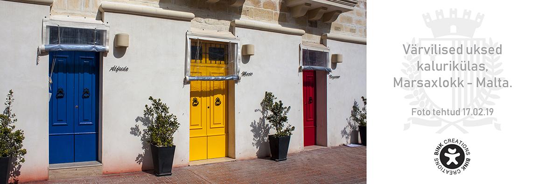 Ilusad, värvilised uksed kalurikülas Marsaxlokk, Malta.